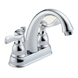 Delta - Delta B2596LF Windemere Series Two Handle Centerset Lavatory Faucet (Chrome) - The Windemere Series brings a curved, sleek style to any contemporary home. It also features a dependable, yet chic design.