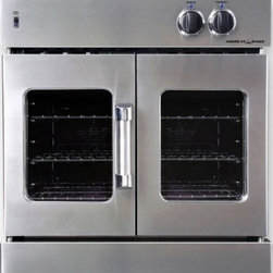 "American Range - Legacy AROFG30N 30"" Single French Door Natural Gas Wall Oven with 4.7 cu. ft  Ca - This Legacy 30 gas wall oven features single french door gas Innovection Wall Oven with infrared broiler blue LED light indicators extra-large vieiwing window in oven door quick pre-heat times and uniform cooking temperatures heavy die cast metal bla..."