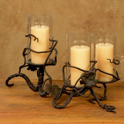 Triple Hurricane Candle Holder - Inspired by the classic elegance of a beautiful Tuscan vineyard this line of wrought iron serving pieces and accessories brings old world elegance to your home.