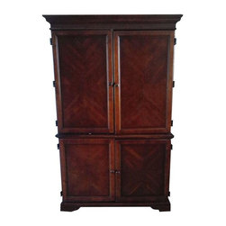 Pre-owned Mahogany Hutch-Table-Armoire Multi-functional Unit - This is a stunning elegant piece with details galore. The functionality of this item is awesome..used for sewing, homework, computer or whatever and wherever you need that table space and storage. It also has a cork board and dry erase board...quality at is best and functionality that is great for the entire family. The unit is constructed of mahogany wood with mixed veneers with crown moulding and ribbon detailing. This awesome piece has some wear and tear..which all adds to the character, but no major bangs, scratches or anything that takes away from this beautiful piece.