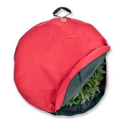 """36"""" Santa's Wreath Storage Bag with Suspend Handle - To keep your delightful door wreath looking just as magnificent as the day you bought it, we present you with our 36"""" Wreath Storage Bag with Suspend Handle from the Santa's Bags collection. This red wreath storage container features a direct suspend system for maintaining your wreath's lovely shape. Carefully zip up your wreath in our red polyester wreath storage bag, and hang it in an ideal spot to await the next holiday season in comfort and safety."""