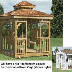 Fifthroom - Vinyl Hip Roof Gazebo Swing -