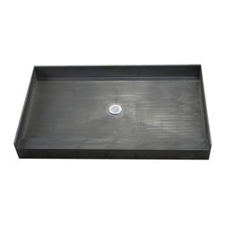 """Tile Redi - Tile Redi 3054C-PVC 30"""" D x 54"""" W Single Curb Shower Pan with Center PVC Drain - 30"""" Depth x 54"""" Width Single Curb Tile Redi Shower Pan with Center PVC Drain. 3.75"""" H Curb on the 54"""" W front side. Depth measured from the front of the entrance to the outside of the back splash wall. The shower pan includes a round adjustable polished chrome (stainless) drain plate, and Redi Poxy Epoxy Tile Setting Adhesive to tile the surface of the shower pan. The Redi Base is fabricated as a one-piece, leak proof shower pan - and comes pre-pitched for perfect water drainage. Shower pans are made out of a rugged polyurethane with ribs underneath for added strength. Each shower pan is tile ready, meaning you can set tile directly on the surface of the shower pan with no additional waterproofing. Tile Redi Shower Pans are easy to install whether you are a contractor or do-it-yourselfer, and a 1/8"""" Trowel can be used during installation depending on the tile, marble, or stone being used. In addition, all Tile Redi shower pans comply with all national and local plumbing codes and are UL listed."""
