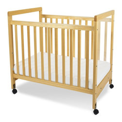 Foundations - Compact Hardwood Crib in Natural - SafetyCraft - The crib was manufactured in 2011 or later and complies with the new federal safety standards issued by the CPSC. Made of Hardwood. Includes Duraloft Vinyl covered, Phthalate-free, 3 in. high density Foam mattress and 2 in. commercial grade casters (2 locking). Adjustable, 2 position mattress board. Steel box frame mattress board features center support to provide added reinforcement and durability. High quality construction includes mortise and tenon joinery and high strength fasteners for superior durability. Solid Steel, SafeSupport crib frame has a lifetime warranty. Plastic teething rails protect child and crib. Crib has full 5 year warranty, with lifetime warranty on frame, casters and hardware. Natural finish. Some assembly required. 26.25 in. W x 39.15 in. L x 38 in. H (39 lbs.). Crib Safety: ivgStores cares about the safety of the products we sell especially for your new little one. We work closely with our manufacturers and only carry those items which meet or exceed federal and state laws. If you are considering buying a new crib or even using a previously owned or heirloom crib, we recommend you visit  cribsafety.org to learn more about crib safety.SafetyCraft cribs are an extraordinary value offering safety and quality to the cost conscious consumer. Color coordinated finishes are matched with hardware and casters for added beauty. Fixed-side crib features a lower profile, providing easier accessibility to infant while reducing back strain for caregiver. Clearview end panels which allow for easy viewing of infant. Crib may be used with optional First Responder Evacuation System, not included. Crib may also be used with optional EZ Store crib drawer with hooded drawer pull, not included (order item 4031040 Natural). JPMA certified.  Foundations uses only wood certified to having been harvested with safe and responsible forestry practices and all products comply with the PEFC certification seal.