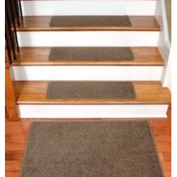 """Dean Flooring Company - Dean Rich Earth Plush Carpet Stair Tread Rugs 27"""" x 9"""" (13) Plus 2' x 3' Mat - Dean Flooring Company Rich Earth Plush Carpet Stair Tread Rugs 27"""" x 9"""" (13) Plus Landing Mat : Imperial Carpet Stair Treads with Landing Mat by Dean Flooring Company Color: Cafe Color Matching Finished (Serged with Yarn) Edges with Rounded Corners. Set includes 13 pieces plus a matching 2'x3' landing mat. Each tread measures approximately 27"""" x 9"""". Also easy to spot clean and vacuum. Helps prevent slips on your hardwood stairs. Great for helping your dog easily navigate your slippery staircase. Reduces noise. Reduces wear and tear on your hardwood stairs. Attractive: adds a fresh new look to your staircase. Easy DIY installation with double sided carpet tape (included). Made from attractive, comfortable cut pile residential carpeting. Matches our peel and stick carpet tiles. Made in the USA! Add a touch of warmth and style to your home today with stair treads from Dean Flooring Company!"""