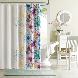 ID-Intelligent Designs - Intelligent Design Cassidy Floral Shower Curtain - An asymmetrical floral design bursts with color to add contemporary elegance to the Cassidy shower curtain. Available in two color options,this Intelligent Design curtain is machine washable for easy clean-up.