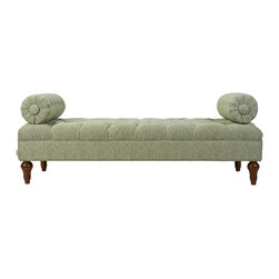 Jennifer Taylor Home - Layla Bolster Bench, Sea Mist Green Polka Dot - Chenille, Sea Mist Green, Polka Dot, Foot assembly required, Dry clean/spot clean