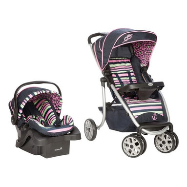 Safety 1st - Safety 1st SleekRide Travel System - Sweet Sailing Multicolor - TR254CKS - Shop for Car Seat/Stroller Combo Travel Systems from Hayneedle.com! The sailing is always smooth - whether in your car or on the street - with the Safety 1st SleekRide Travel System - Sweet Sailing. This nautical-inspired combination features a front-facing stroller for your child up to 50 lbs. and a rear-facing infant car seat with the best in side impact protection for a child from 4-35 lbs. keeping your baby rear facing longer. The car seat boasts a 5-point safety harness specifically designed for the smallest of babies belt lock an ergonomic carry handle and room to grow so your baby is always comfortable. You'll also love the adjustable base designed for extra deep car seats. The stroller includes a multi-position reclining seat multi-position canopy with sun visor and window for increased airflow child snack tray with cup holder and large storage compartment for all your baby's necessities. Drivers will appreciate the convenient parent tray with cup holders and one-hand fold feature.Use the convenient QuickClick feature to secure the car seat to the stroller with one click. Additional Car Seat Features onBoard 35 Air Infant Car SeatRear-facing for infants 4-35 lbs. up to 32 in.5-point harness with center front adjustBest fitting harness design for tiny 4 lb. travelersAdditional leg room for growing baby's comfortErgonomic carry handle2-stage level indicator for easier and more accurate installationAdjustable in-car base designed for extra deep seatsBeltLock on baseLATCH-equipped for easy installationMeets or exceeds Federal ASTM safety standards Additional Stroller Features Assembled weight: 42 lbs. Accommodates car seat for infantsStroller alone is for children up to 50 lbs. who can sit unassisted5-point restraint systemMulti-position seat reclien Fold stroller single-handedly; stands without support when folded Multi-position stroller canopy with sun visor and mesh windowLarge storage basket Stroller has child snack tray with cup holder and SlideGuard protectionParent organizer tray with 2 cup holders and storage pocket About Safety 1stSafety 1st attributes its success to a never-wavering commitment to child safety. Acquired by Dorel Industries in 2000 (makers of Baby on Board signs) Safety 1st has been able to continue its dedication to making our world safer for children. For years parents have trusted Safety 1st and Dorel Industries to create products that are convenient durable safe and innovative. These companies specialize in making quality products at affordable prices and are proud to be showcased as a leader in their field.