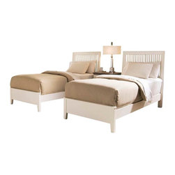 American Drew - American Drew Sterling Pointe 5 Piece Slat Bedroom Set in White - Sterling Pointe, from American Drew, is a collection of bedroom furniture with simple lines, but spectacular possibilities. Sterling Pointe is a versatile group that can easily capture any lifestyle and work in any setting. The collection can go from urban chic to country cottage, from transitional to coastal, and all personal styles in between! Sterling Pointe is offered in four popular colors; Black, White, Cherry and Maple. All case pieces come with matching color hardware and polished chrome finish hardware for even more personalization. In addition, the Black and White colored case pieces have the option to customize the tops in either Cherry or Maple colors. When you choose this option, you get hardware in the matching case color, matching top color and polished chrome finish. The three bed styles are offered in multiple sizes to fit any room and setting.This is the perfect collection for that condo or town home, second bedroom or second home. Sterling Pointe has a timeless appeal that can adapt and last a lifetime. Sterling Pointe will capture the essence of your personal style.