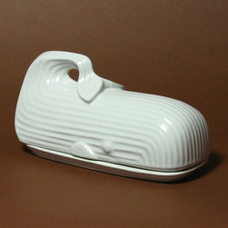 """Jonathan Adler - Whale Butter Dish - Features: -Whale pattern. -High-fired stoneware. -With a matte white glaze. -Overall dimensions: 4"""" H x 3"""" W x 8"""" D."""