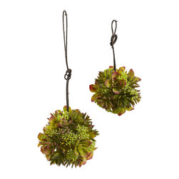 Nearly Natural - 7in. & 5in. Mixed Succulent Spheres (Set of 2) - When one isn't enough, we present this set of two succulent spheres for your decorating pleasure. This is a 'big brother / little brother' set (substitute sister if you wish!), as one is 5', and the other measures 7'. But regardless of the size, the blooms and berries will captivate you with their intricate dance. Best of all, these will never dry out, no matter how long you leave them up.