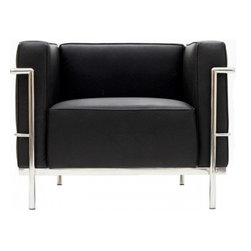 "Serenity Living Stores - Le Corbuiser LC3 Stlye Armchair - Italian Black - The original Le Corbusier armchair collection was designed for the prestigious Maison La Roche house in Paris, France in the year 1928. This design is a modernist take on the traditional club chair. This collection varies in a smaller version known as the LC2 and a larger version known as the LC3 which is considered to be more functional for practical living purposes. Exceptional in comfort, Le Corbusier often thought of his pieces as ""cushion baskets."" intriguing quality of the LC2 is the externalized metal frame which offers support to the base and extends as the legs and runs the entire length of this beautiful piece. The LC2 is not only attractive in a forward facing view- the metal frame work extends into design detail from the sides and back as well allowing for placement in any given area of a room. This is a quality, highly detailed reproduction of the original Le Corbusier LC3 Style Arm Chair.                          Overall Dimensions: 24.4"" H x 38.9"" L x 28.7"" D"