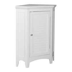 Elegant Home Fashions - Elegant Home Fashions Slone Corner Floor Cabinet with 1 Shutter Door - White - E - Shop for Cabinets from Hayneedle.com! Transform that empty corner into a valuable storage space with the Elegant Home Fashions Slone Corner Floor Cabinet with 1 Shutter Door White. This durable engineered wood cabinet features a space-saving corner design with crown molded top louvered door and arched skirt for an elegant look to enhance any decor. Best of all its shutter door opens to a deep storage compartment with adjustable shelf for customizable organization ideal for all your towels and toiletries. This stunning floor cabinet is available in white with chrome hardware and includes all tools for quick and easy assembly.About Elite Home FashionsProviding affordable extravagance Elite Home Fashions has been the nation's foremost manufacturer of bathroom accent furniture and bathroom accessories in the United States. Their customers include some of America's finest and most prestigious retailers department stores and discount retail chains. Elite Home Fashions has traveled the globe to give consumers the best quality and design for their bathroom decor.