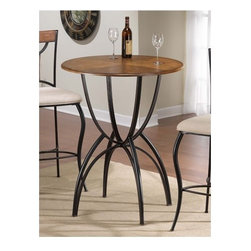 "Hillsdale - Pacifico Bar Height Bistro Table - Black metal with copper highlights mix with wood finished in a Honey Maple tone to accomplish the cool, refreshing look of Hillsdale's Pacifico Bistro Table. A generous 34"" round table top is supported by a unique base built with interlocking half spheres.Clean lines with just enough curve make this transitionally designed pub table perfect for your bar, dining room or eat in kitchen. Constructed of sturdy fully welded heavy gauge metal, wood, climate controlled wood composites and veneers, this pub table will grace your home for years to come! Bisto Trable Features: -Black finish with copper highlights. -Metal construction. -Wooden table top. -Beige microfiber seat. -Assembly required. Specifications: -Table Base Overall Dimensions: 42"" H. -Table Top Overall Dimensions: 34"" W x 34"" D."