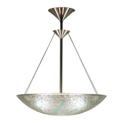 George C. Scott Studios - Dichroic Spears Chandelier, Bowl - This fused and slumped glass light shade is handmade. The colorful glass ornamentation is cut and arranged by hand, then fired at high temperature in an electric kiln.