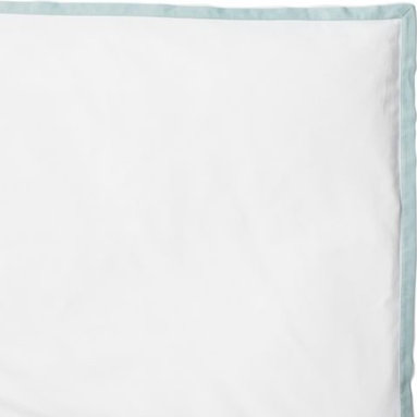 "Serena & Lily - Aqua Border Frame Duvet - For those who crave a quieter bed, this beautifully embroidered layering piece allows you to start simple and add on as you desire. Dial it up with sheets in a bold color and pattern, or keep it clean and classic -- whatever suits your style. Soft white sateen with fabric-covered button closures and a 1"" flange in aqua."
