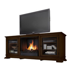 Real Flame - Real Flame Hudson Ventless Gel Fireplace and TV Stand in Espresso - Real Flame - Fireplaces - 4100E - Enjoy the crackle and ambiance of a Real Flame fireplace, this substantial freestanding fireplace also doubles as an entertainment center. Footed pedestals elevate the unit and