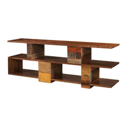 Marco Polo Imports - Parker Block Console Table - This elegant console combines the rustic charm of natural wood with contemporary designs, giving new life to salvaged wood. The reclaimed wood and simple design create a hand-crafted, singular look, ensuring that each piece is truly unique.