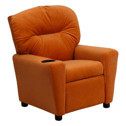Flash Furniture - Flash Furniture Contemporary Orange Microfiber Kids Recliner with Cup Holder - Kids will now be able to enjoy the comfort that adults experience with a comfortable recliner that was made just for them! This chair features a strong wood frame with soft foam and then enveloped in durable microfiber upholstery for your active child. Choose from an array of colors that will best suit your child's personality or bedroom. This petite sized recliner will not disappoint with the added cup holder feature in the armrest that is sure to make your child feel like a big kid! [BT-7950-KID-MIC-ORG-GG]