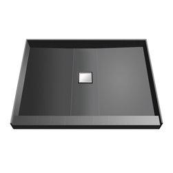 Tileredi - TileRedi WD4848C-PVC 48x48 Single Curb Pan Center Drain - TileRedi WD4848C-PVC 48 inch D by 48 inch W, fully Integrated Shower Pan with PVC Center Wonder Drain