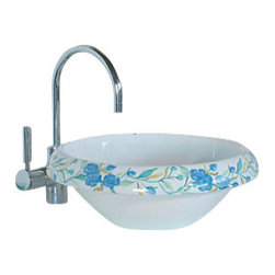 WS Bath Collections - LVT 100 - Romantica Bathroom Sink - Ceramica by WS Bath Collections 16.1 x 5.9 Above The Counter Bathroom Sink/ Washbasin in Hand Painted and Hand Decorated Ceramic