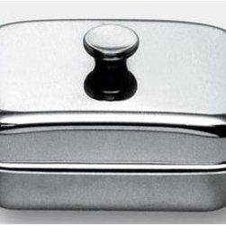 """Alessi - Carlo Mazzeri Butter Dish - The Carlo Mazzeri Butter Dish is an Alessi classic which has been around for many years. Made from durable mirror-finished 18/10 stainless steel this bowl will be a great addition to your serving collection. Features: -Butter dish. -Mirror polished finish. Specifications: -Dimensions: 7.5"""" L x 4.3"""" W. -Material: Stainless Steel. -Dishwasher safe."""