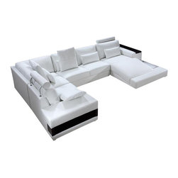 VIG Furniture - Diamond - White Leather Sectional Sofa Set with Lights - Diamond - White Leather Sectional Sofa Set with Lights