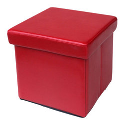 Modus Furniture - Modus Urban Seating Folding Storage Cube in Red Leatherette - We created the Urban Seating collection to provide stylish, affordable seating and storage options throughout the home. Great around a table, in a foyer, a game room or a den, chairs are engineered for easy assembly using durable 9 bolt grooved corner block construction and feature web seat cushions for extra comfort. Storage cubes and benches ship fully assembled and feature padded tops, upholstered interiors and built-in wood serving trays. The cubes and benches are a smart accent to any room of the house and are great for storing bed linens, shoes, toys, magazines, gaming accessories and other household clutter. All Urban Seating products are available in a supple leatherette that's durable, stylish and easy to clean.