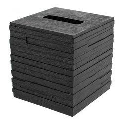 Gedy - Square Black Tissue Box Cover - Decorative square tissue box holder made in black thermoplastic resins. Tissue box holder is made in thermoplastic resins in black finish. Shape is square. From the Gedy Quadrotto collection.