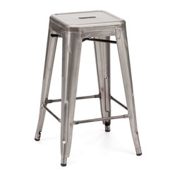 Design Lab MN - Tolix Style Stackable Clear Gunmetal Steel Counter Stool, Set of 4 - The Dreux steel stackable counter stool is a fantastic designed counter stool to add to any restaurant, bistro or coffee house. This counter stool is produced in rolled steel which can withstand any high traffic area. It also can be stacked to save space if needed. Produced by Design Lab MN, this product is manufacturer to highest standards in the furniture industry.