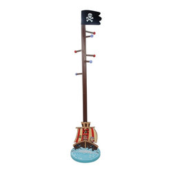Fantasy Fields - Fantasy Fields Pirates Island Coat Tree - TD-11603A - Shop for Coat Hooks and Racks from Hayneedle.com! These playful pirates are sure to get the attention of little buccaneers who are learning to properly stow their gear. The Fantasy Fields Pirates Island Coat Tree offers a place to hang treasured outerwear and accessories like scarves and hats. The coat tree extends upward out of a pirate ship base like an extremely tall mast. The base features a pirate ship sailing full speed ahead toward an organized room. Made with solid wood and MDF; finished with non-toxic paint. Designed for little sailors ages 3 years and older.About Teamson DesignBased in Edgewood N.Y. Teamson Design Corporation is a wholesale gift and furniture company that specializes in handmade and hand-painted kid-themed furniture collections and occasional home accents. In business since 1997 Teamson continues to inspire homes with creative and colorful furniture.