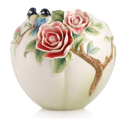 Franz Porcelain - FRANZ PORCELAIN COLLECTION Joyful Spring Blue Chickadee And Camellia Vase FZ0297 - Finished In Lead Free Glazes * Hand Painted By Franz Porcelain Artisans * FDA Approved Food/Plant Safe * New In The Original Box