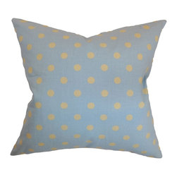 "The Pillow Collection - Nancy Polka Dots Pillow Blue Yellow - Evoke a homey atmosphere into your space by adding this elegant throw pillow. This contemporary accent pillow brings comfort and a casual sense to your home. This square pillow comes with a polka dot print in shades of yellow and blue. Place this 18"" pillow to your seating area, bed or anywhere inside your house. Made from 100% soft cotton fabric. Hidden zipper closure for easy cover removal.  Knife edge finish on all four sides.  Reversible pillow with the same fabric on the back side.  Spot cleaning suggested."
