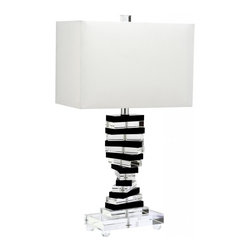 Safavieh - Martin Table Lamp - Dripping with over-the-top glamour, the Martin Key table lamp was inspired by Liberace's flamboyant keyboard style. Blocks of clear and black crystal are stacked precariously on a crystal base, and topped with a cotton hardback shade.