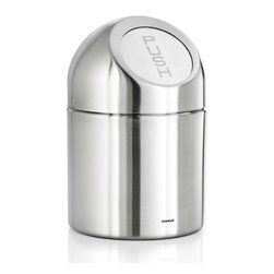Blomus - Petite Stainless Steel Pushboy Wastebasket - Small but mighty, the Petite Stainless Steel Pushboy Wastebasket will help keep your work space tidy. Made especially for counter-top use, it's perfect for disposing of immediate, everyday trash such as paper scraps, tissues and other small objects. Made of sleek stainless steel with a push-open top, it conveniently keeps your view free of clutter. Able to hold up to 51 oz.