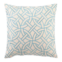 "Peking Handicraft - Peking Handicraft Circle Link Embroidered Pillow, Turquoise - Modern design gets smart with the interlocking puzzle pattern of this hand crafted pillow. The simple, contemporary graphic is a versatile home accent. The pillow is made with linen with embroidered detail. It measures 20"" X 20"" and features a feather-down insert. This pillow is dry clean only."