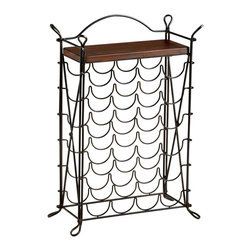 Kathy Kuo Home - Cassina Wrought Iron Looped Feet Raw Steel Iron Wine Rack - This stylish wine rack celebrates vintage in more ways than one!  With a masterfully curved iron frame and chestnut finished top, this piece would be perfect in a wide variety of settings from French Country to Modern and Eclectic.