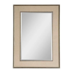 "Uttermost - Uttermost 14463  Marilla Beaded Silver Mirror - Frame's inner and outer edges feature a delicate beading detail with a heavily burnished finish and antiqued silver highlights. a taupe linen mat creates the frame's center panel. mirror has a generous 1 1/4"" bevel."