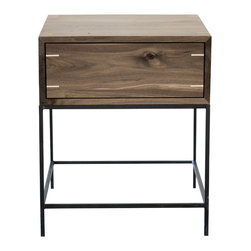 """kith&kin - Myers End Table - Modern Walnut Side Table, Walnut W/ Maple Spline, 20 X 20 - Simple and stylish. Modern classic design made with natural materials. Mitered Black Walnut boxes with dovetailed maple drawers on under mount drawer guides. Shown with touch latch. Corner splined with maple (light color). Precatilized lacquer finish. Mill-scale Steel Base shown with clear automotive finish. 22"""" wide x 20"""" deep x 24"""" high. Made to order. May or may not contain patches as shown in photo. No two are exactly alike. Lead time is typically 4 wks."""