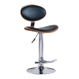 """Leick Furniture - Black Oval Adjustable Swivel Stool - Set of 2 - Heavy duty cylinders offer a versatile seat for counter height, bar height or anything in between. Full swivel seats and sturdy footrests deliver comfort in this bold chrome and faux leather beauty.; finish:chrome/walnut finish with black faux leather seat; steel and plywood construction; simple assembly in minutes; swivel seat; adjustable height; heavy gauge air cyliinder; Dimensions: 20.5""""W x 19.7""""L x 36.6 to 45.5""""H"""