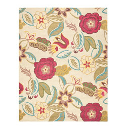 Safavieh - Country & Floral Blossom 8'x10' Rectangle Beige - Multi Area Rug - The Blossom area rug Collection offers an affordable assortment of Country & Floral stylings. Blossom features a blend of natural Blue-Multi color. Hand Hooked of Wool the Blossom Collection is an intriguing compliment to any decor.