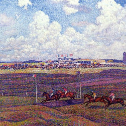 "Theo Van Rysselberghe The Race Track at Boulogne-sur-Mer   Print - 18"" x 24"" Theo Van Rysselberghe The Race Track at Boulogne-sur-Mer premium archival print reproduced to meet museum quality standards. Our museum quality archival prints are produced using high-precision print technology for a more accurate reproduction printed on high quality, heavyweight matte presentation paper with fade-resistant, archival inks. Our progressive business model allows us to offer works of art to you at the best wholesale pricing, significantly less than art gallery prices, affordable to all. This line of artwork is produced with extra white border space (if you choose to have it framed, for your framer to work with to frame properly or utilize a larger mat and/or frame).  We present a comprehensive collection of exceptional art reproductions byTheo Van Rysselberghe."