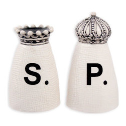 Crown Salt & Pepper Set - Fit for royalty, this ceramic Crown Salt & Pepper Shaker Set features beautiful king and queen crown detailing.