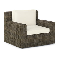 Frontgate - Hyde Park Outdoor Lounge Chair with Cushions, Patio Furniture - Modern, clean lines and a fresh, squared shape. Richly hued, ocean-gray fibers. Handwoven premium resin wicker. Rust-resistant powdercoated frame. Cushions included. Extra-deep seating and spacious armrests make our Hyde Park Lounge Chair a comfortable composition for most any setting. The ocean-gray finish of the all-weather wicker harmonizes perfectly with whitewashed teak tables. Hidden rust-resistant, powdercoated aluminum frame provides sturdy support. Thick, high-density foam cushions are included. Part of the Hyde Park Collection. .  .  .  .  . 100% solution-dyed acrylic and woven fabrics . All-weather cushions have a high-resiliency foam core wrapped in plush polyester . Cushions also available with 100% waterproof Sunbrella Rain performance fabric.