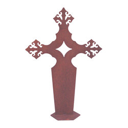 Z Garden Party, Inc. - Gothic Cross Garden Art Sculpture - Out traditional Gothic Cross is a beautiful addition for indoor or outdoor. It is hand made from heavy rusted metal and made in America. This is an original design by California artist Susan Regert.