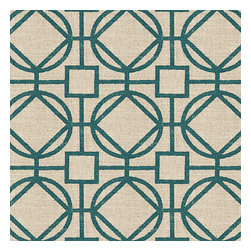 Teal & Natural Modern Trellis Fabric - Teal geometric trellis on thick natural cotton. A bold statement of modern meets rustic.Recover your chair. Upholster a wall. Create a framed piece of art. Sew your own home accent. Whatever your decorating project, Loom's gorgeous, designer fabrics by the yard are up to the challenge!