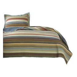 Pem America - Retro Stripe Natural Quilt Set, Twin - Retro Stripe Natural is a yarn dyed casual pattern that brings a casual look to any room. This pattern brings color and detail to you bedroom and keeps the casual comfort you want.
