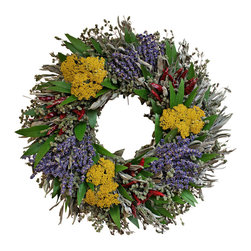 Creekside Farms - Lavender Herb Wreath - Colorful and fragrant, the Lavender Herb Wreath is an excellent addition to any kitchen or front door.