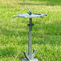 """Ship's Wheel and Anchor Bird Bath - This line of extraordinary treasures features distinctive decorative wares that are sure to find a perfect place in your heart and home and garden. Dimensions: 17.5""""w x 15.5""""d x 31""""h"""