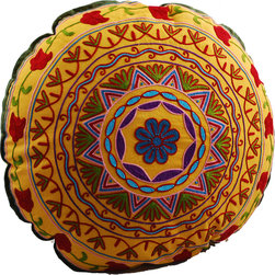 Modelli Creations - Yellow Medallion Round Floor Pillow - Looking for some downtime? These super plush floor pillows turn almost any floor space into comfortable, casual seating. And they can easily slip under a bed or behind a sofa when you're up and running again.